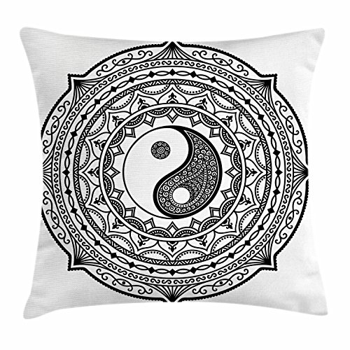 Decor Throw Pillow Cushion Cover, Mandala Pattern Yin Yang Sign Made with Paisley Motif Karma Cosmos Image, Decorative Square Accent Pillow Case, 16 X 16 Inches, Black White ()