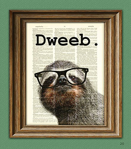 The-Dweeb-Sloth-in-black-glasses-illustration-beautifully-upcycled-dictionary-page-book-art-print
