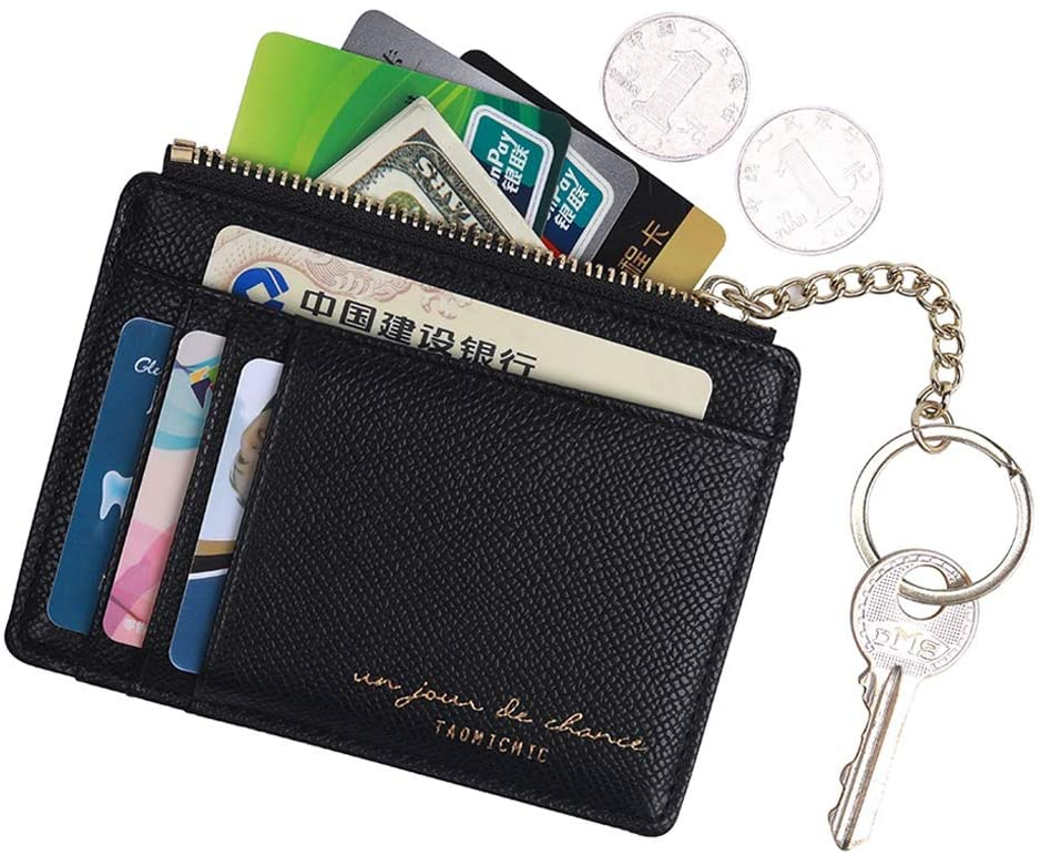 Amazon Com Women Slim Leather Card Case Holder Small Wallet Cute Coin Purse Girl Mini Wallet With Keychain Black