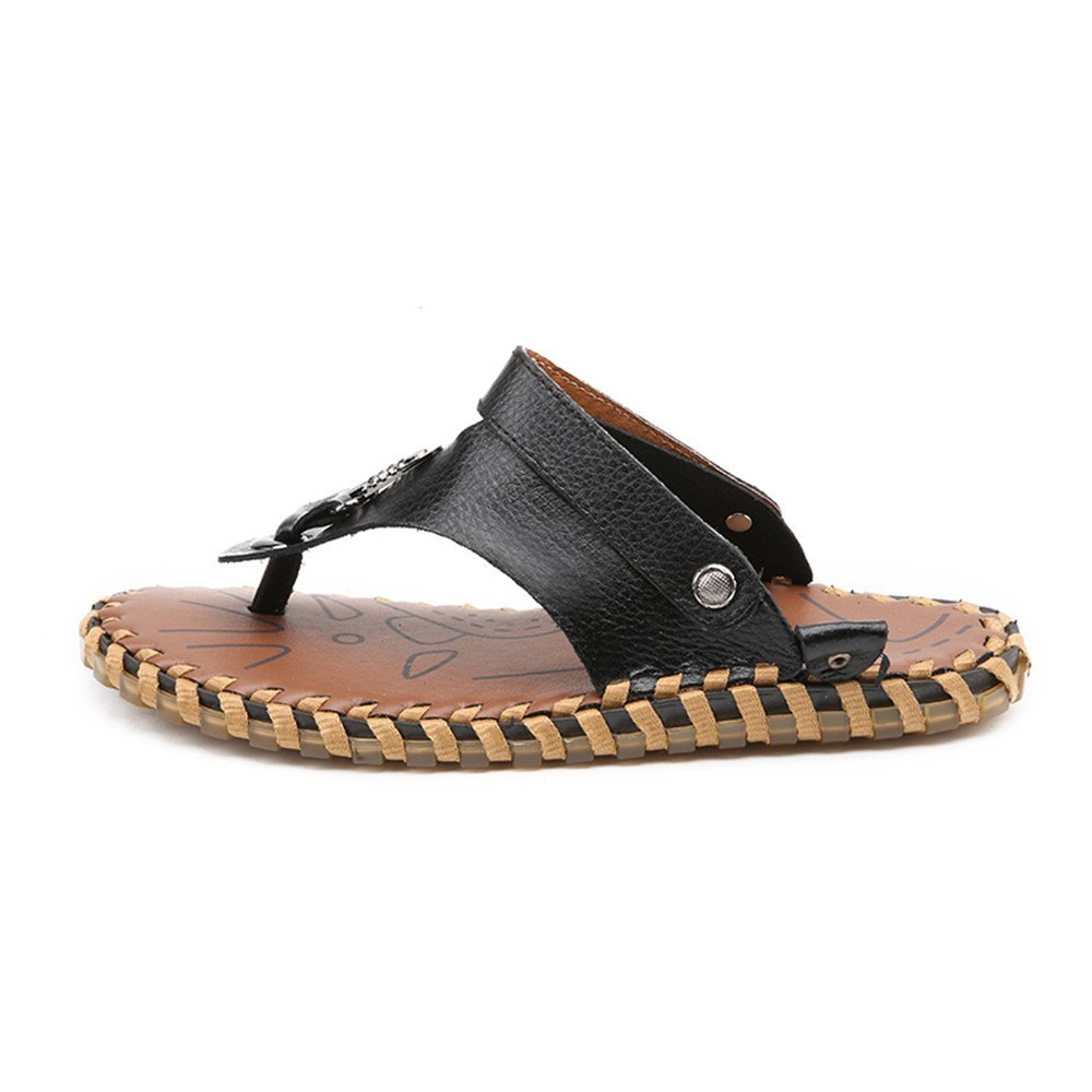 Dig dog bone Men's Slippers Flip Flops Shoes Genuine Leather Beach Slippers Men's Non-Slip Soft Flat Casual Sandals Slides Adjustable Backless B07G2HK2MQ Sandals b59978