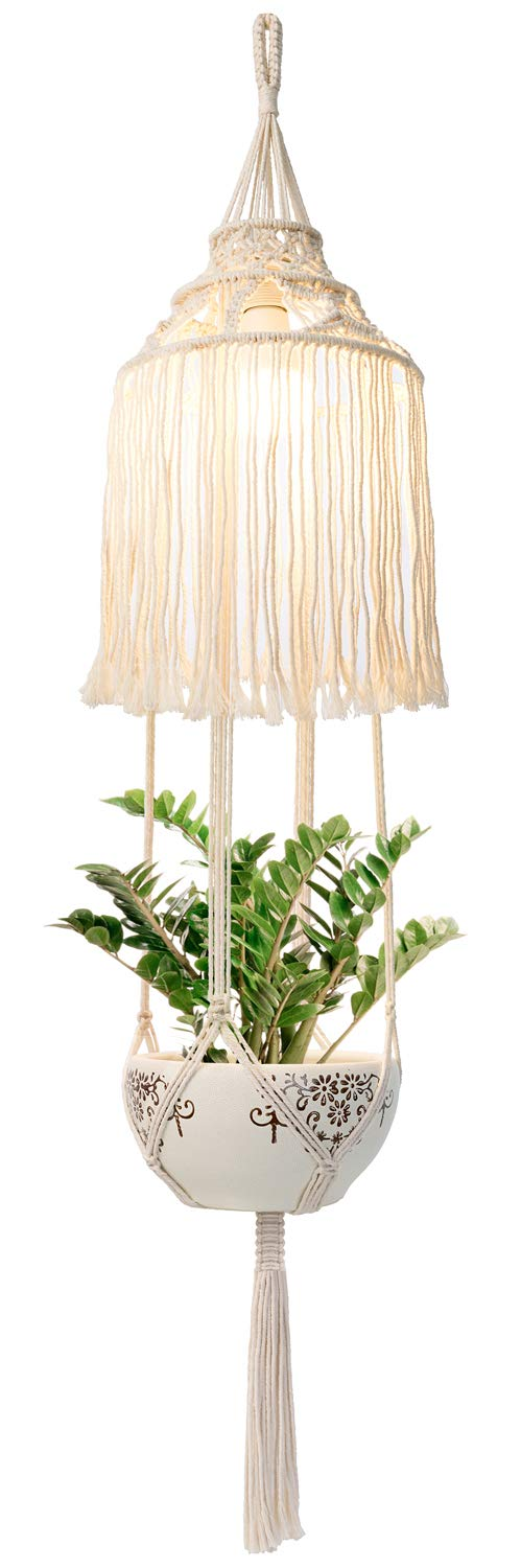 Mkono Macrame Plant Hanger Indoor Lantern with Hanging Planter Pendant Light Shade Cotton Rope Boho Home Decor, 51 Inch