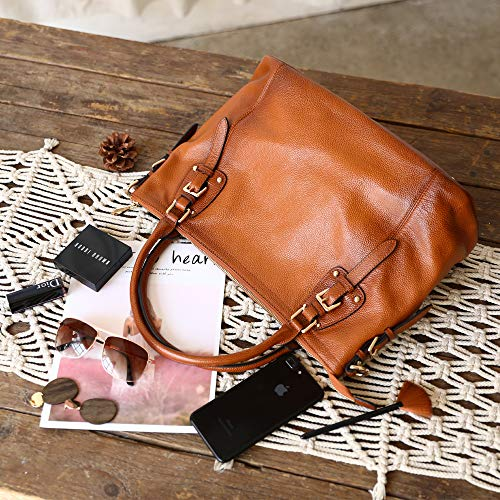 Kattee Women's Genuine Leather Handbags Shoulder Tote Organizer Top Handles Crossbody Bag Satchel Designer Purse 4