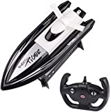 Remote Control Boat, Racing RC Boats with 2.4GHz Transmitter Easy to Use for Kids & Adult [Black]
