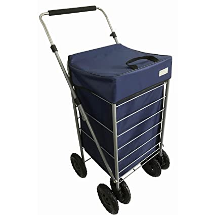 Bo Time Carro de compras 6 ruedas - Gran capacidad 70L - Ruedas delanteras mutidireccionales -