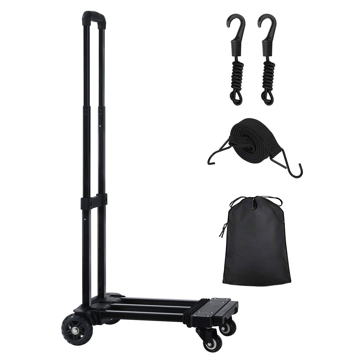 KEDSUM Folding Hand Truck, 155 lbs, 4 Wheels Solid Construction Heavy Duty Utility Cart, Portable Fold Up Dolly, Compact and Lightweight for Luggage, Personal, Travel, Moving and Office Use