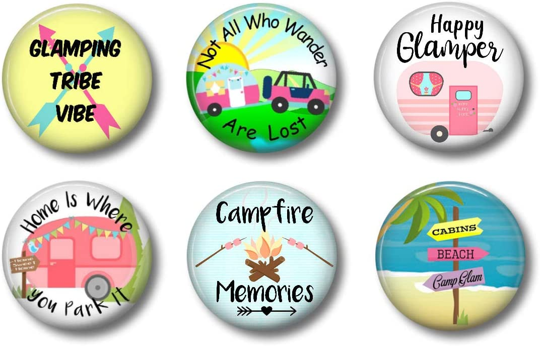 """Happy Glamper Decor Magnets - RV Magnets - Set of Six 1.75"""" - Cute Fridge Magnets For Glamping Camping Trailer or Camper (Glamping)"""