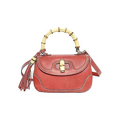 df4825abd70 Gucci Bamboo Large Top Handle Bag Coral Red Leather Handbag Shoulderbag