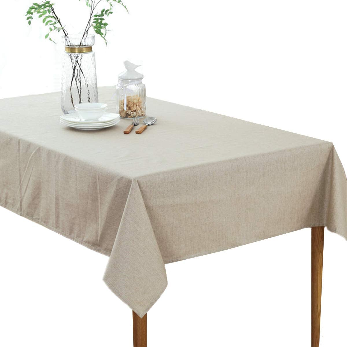 Solid Cotton Linen Tablecloth Simple Style Pure Color Square Table Cover for Dining Room Kitchen Decoration 52 x 52 inches Beige