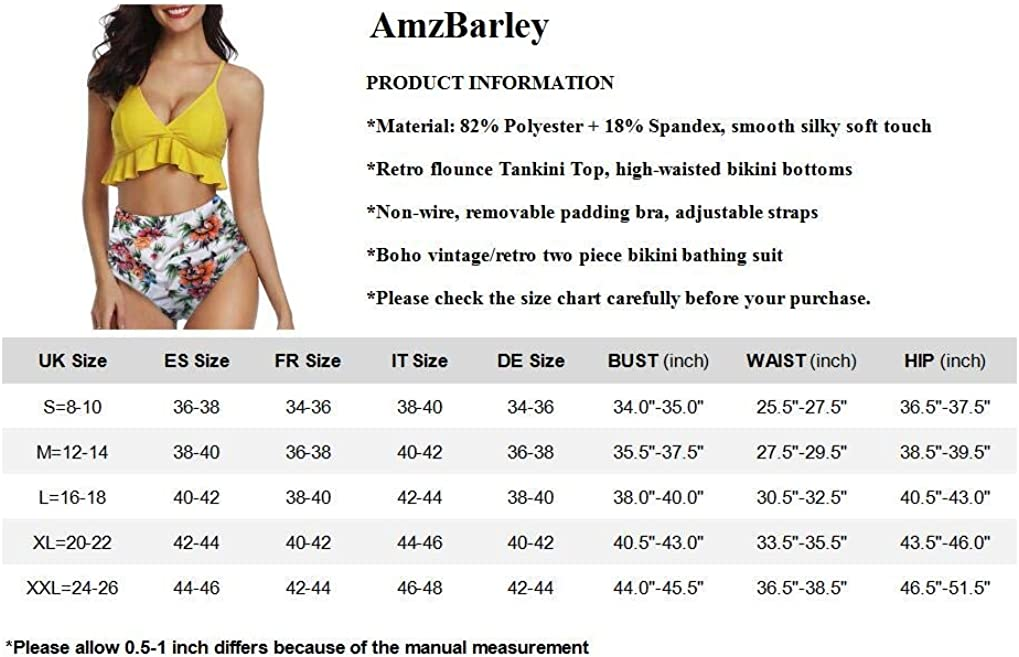 AmzBarley Womens Swimming Costumes 2-Piece Swimsuit Woman Tankini Bikinis Swimwear Bathing Suit Retro Flounce Bra Tops Floral High Waist Bottoms