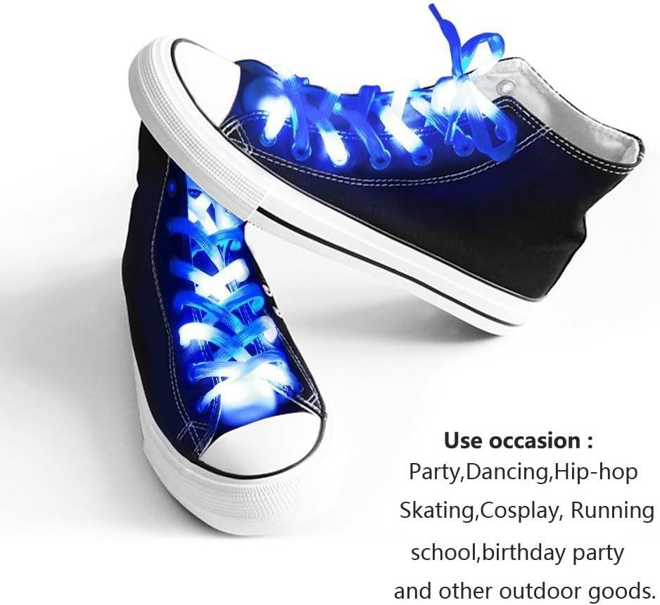 easyDecor (1 par LED Cordones de Nylon Se Enciende 3 Modos Batería Luces Cordones para Fiesta de Navidad Bailando Hip Pop Running Decoraciones (Azul): Amazon.es: Hogar