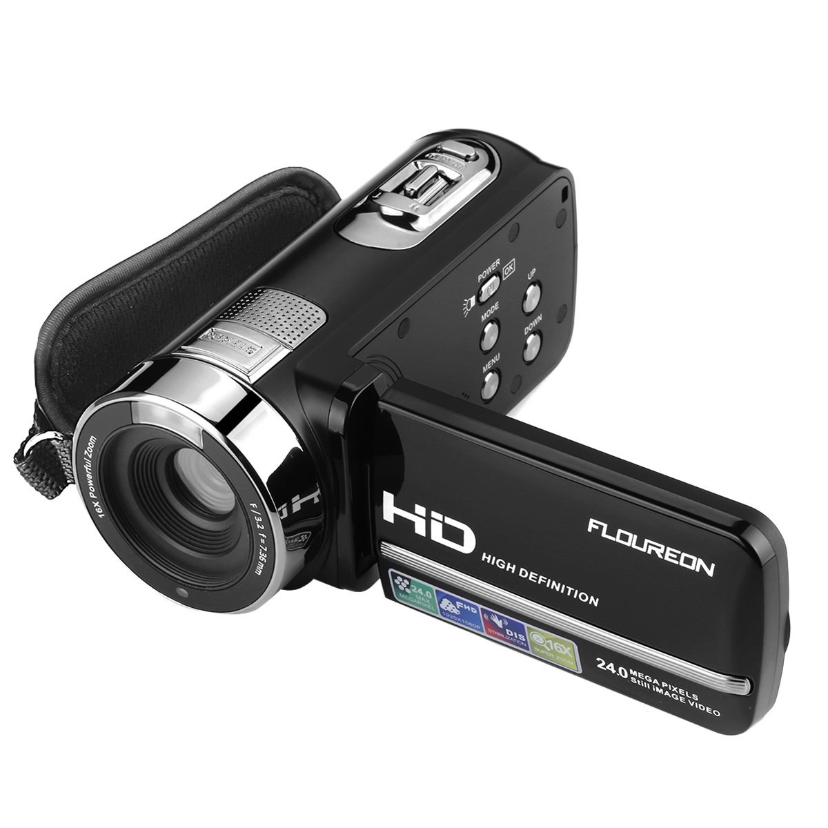 FLOUREON HD 1080P Camcorder Digital Video Camera DV 3.0 TFT LCD Screen 16x Zoom 270 Degrees Rotation for Sport/Youtube/Short Films Video Recording Dark