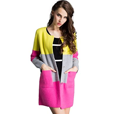 a863f0dd4ce LEIDAI Women s Long Sleeve Soft Mink Knit Cardigan with Internal Buttons ...