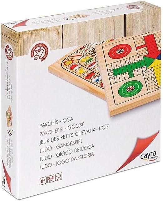Cayro - Parchís y Oca de Madera - Juego de Tradicional - Juego de Mesa - Desarrollo de Habilidades cognitivas - Juego de Mesa (632): Amazon.es: Juguetes y juegos