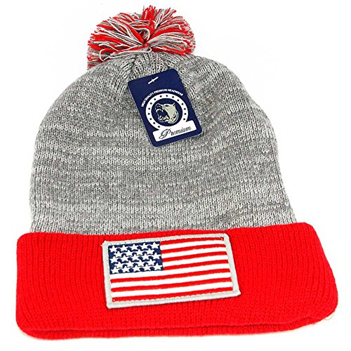 USA Flag Embroidered Winter Warm Thick Knit Beanie (Red Bull Snowboard)