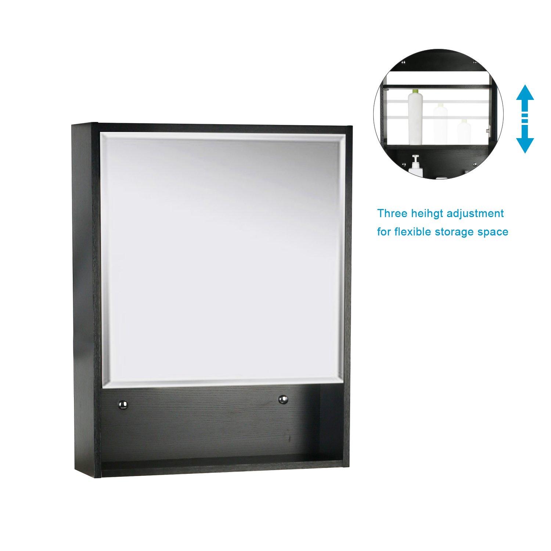 Eclife 22'' x 28'' Large Storage Bathroom Medicine Cabinet Organizer Mirror Storage Wood Adjustable Wall Mounted Mirror Cabinet Black C01 by Eclife (Image #2)