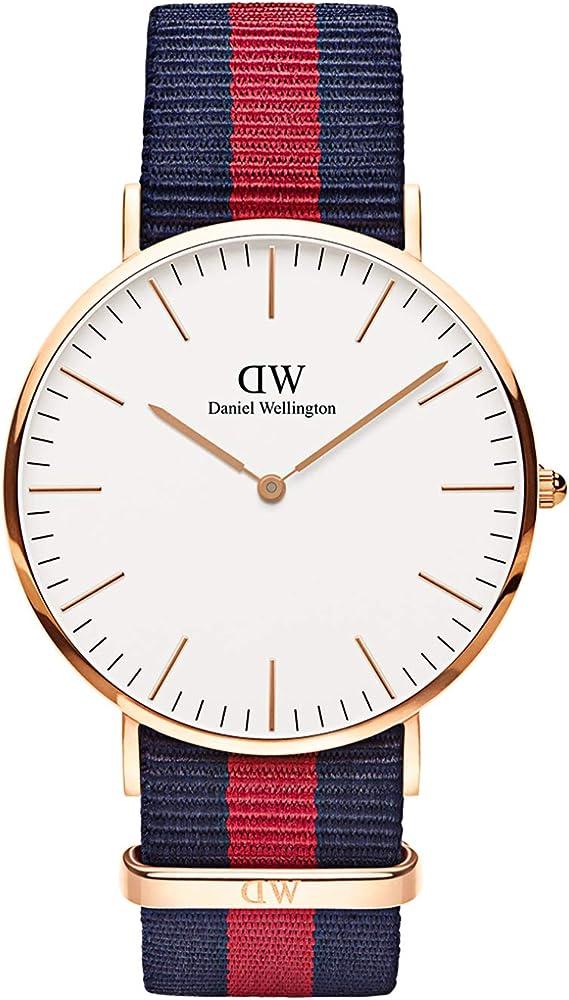 Daniel Wellington Classic Oxford Reloj , Hombre, NATO, Azul-Rojo/Oro Rosado, 40mm