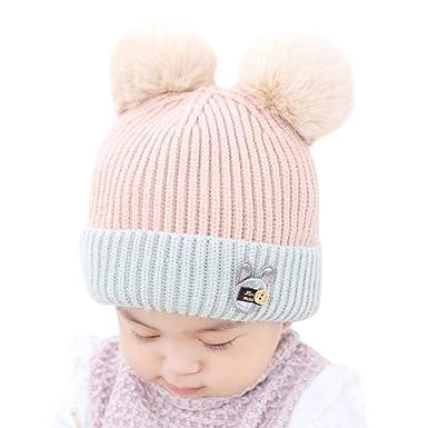 Sunenjoy Enfants Bonnet Hiver Chaud Chapeau Crochet Tricot Protection  Oreille et Cou Capuche Cagoule Casquette Pompon 06627136300