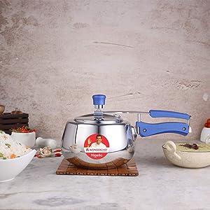 Wonderchef Nigella Stainless Steel Indian Cooking Inner Lid Round Design Pressure Cooker; 5 Quarts, Silver & Blue
