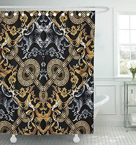 Silver Ring Scroll Borders - Emvency Shower Curtain 72