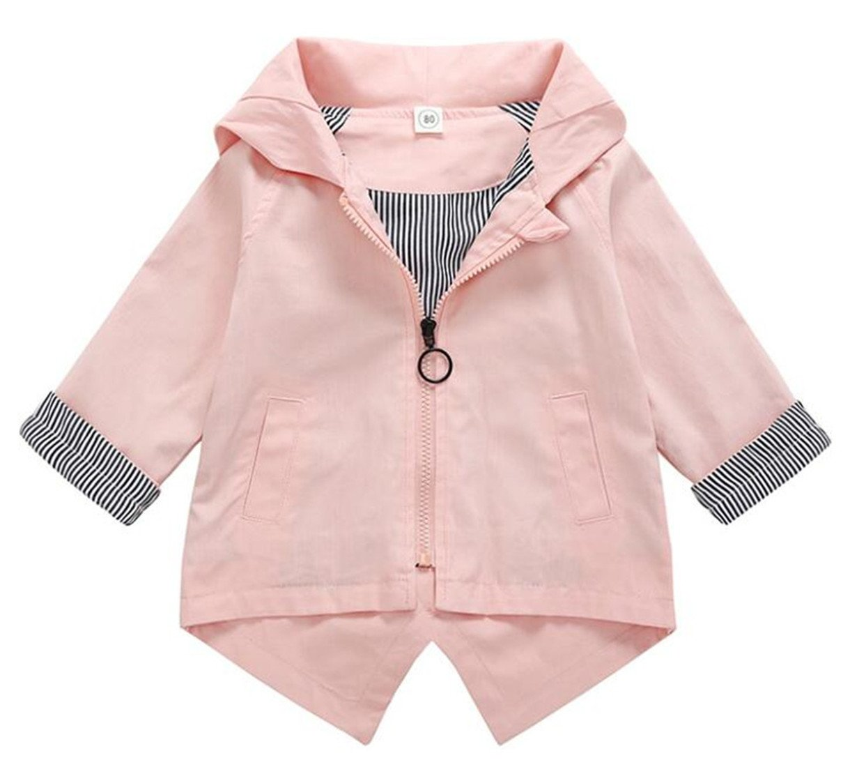 UNIQUEONE Toddler Boys Girls Cartoon Bunny Hooded Coat Long Sleeve Outerwear Jacket Size 18-24 Months/Tag90 (Pink)