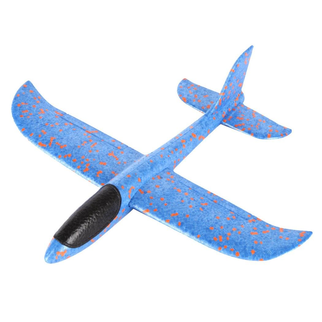 Throwing Glider Airplane Inertia Fly Aircraft Toy Hand Launch Foam Airplane Model by Coohole (Blue)