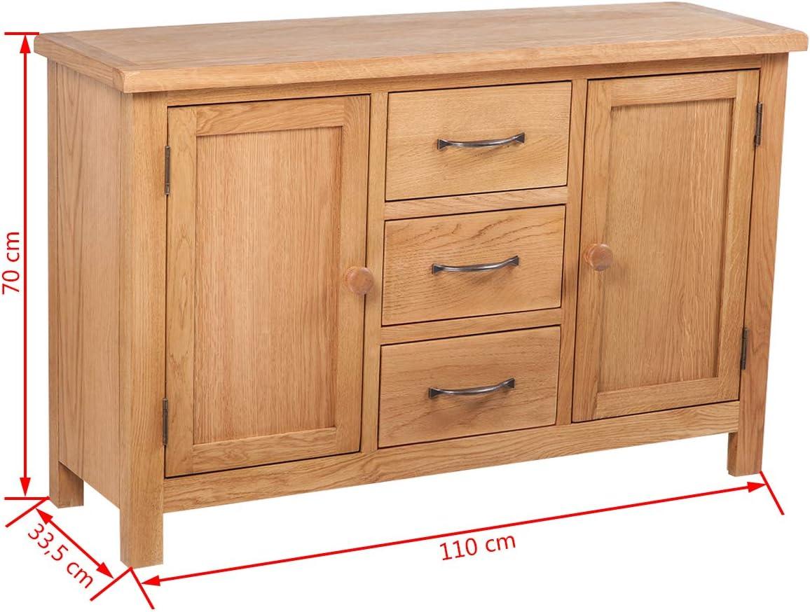 vidaXL Solid Oak Sideboard w// 3 Drawers 2 Doors Side Storage Cabinet Cupboard