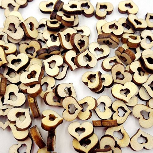 100pcs Wooden Hollow Love Heart Rustic Wedding Table Scatter