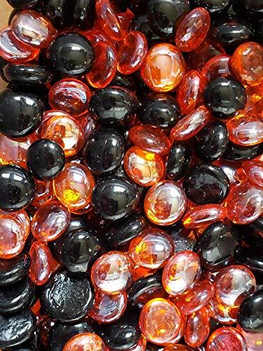 Art Marble 21 Halloween (WeJe Medium 17-21mm Glass Gems Flat Back Marbles for Home Decor Art Craft Vase Filler Aquarium - 2 LBS Halloween Mix: Black & Orange)