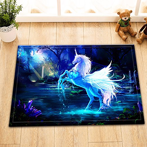 Cartoon Decoration Kids Stylish Bath Rugs 3D Digital Printing 16x24 Inch Customized Personality Sapphire Blue Crystal Unicorn Horse Silver Wings Outdoor Indoor Front Door Mat Non-slip Bath Mat