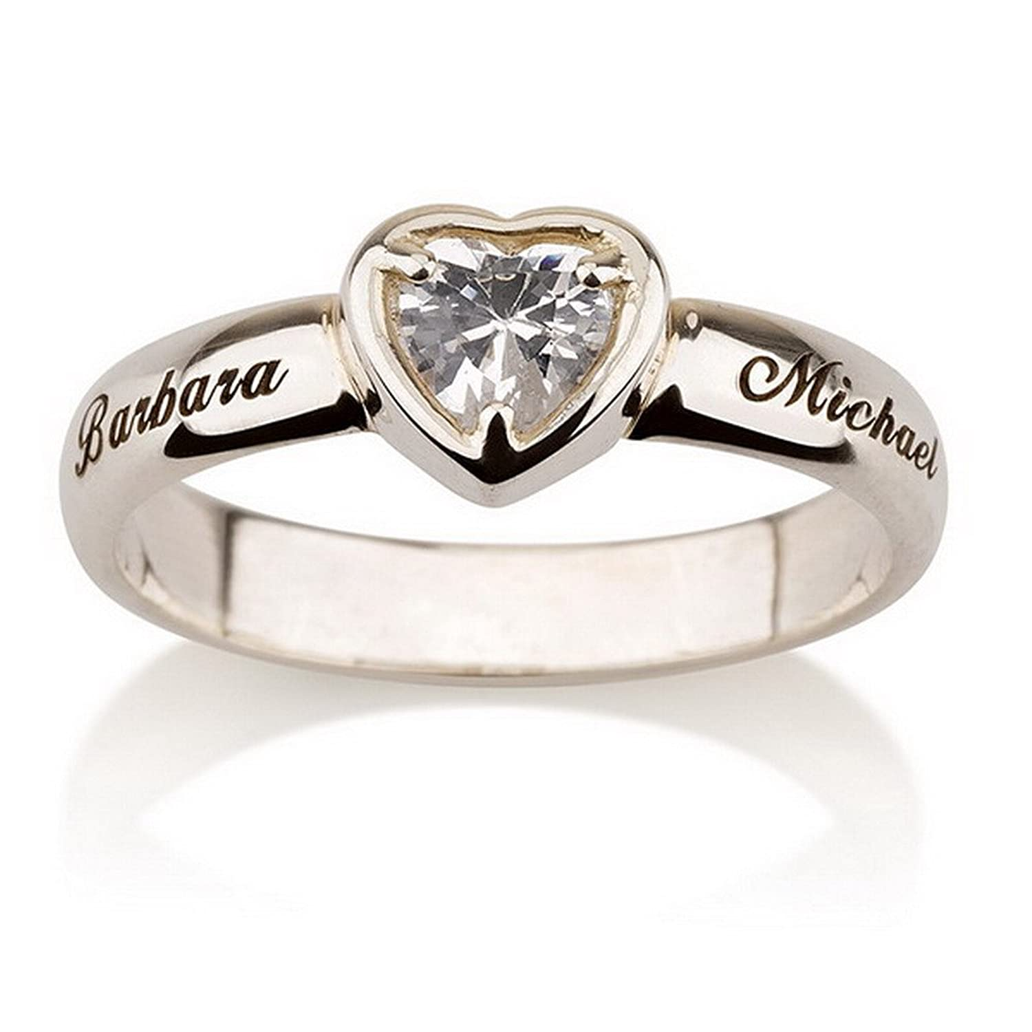 Amazon.com: Engraved Heart Ring Promise Ring in Sterling Silver ...