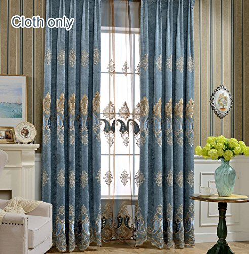 WPKIRA European Luxury Curtains Semi Blackout Curtains for Living Room Embroidered Pepper Grommet Curtains 1 Panel Thermal Insulated Window Treatment Drapes Eyelet Curtains W75 x L96 inch