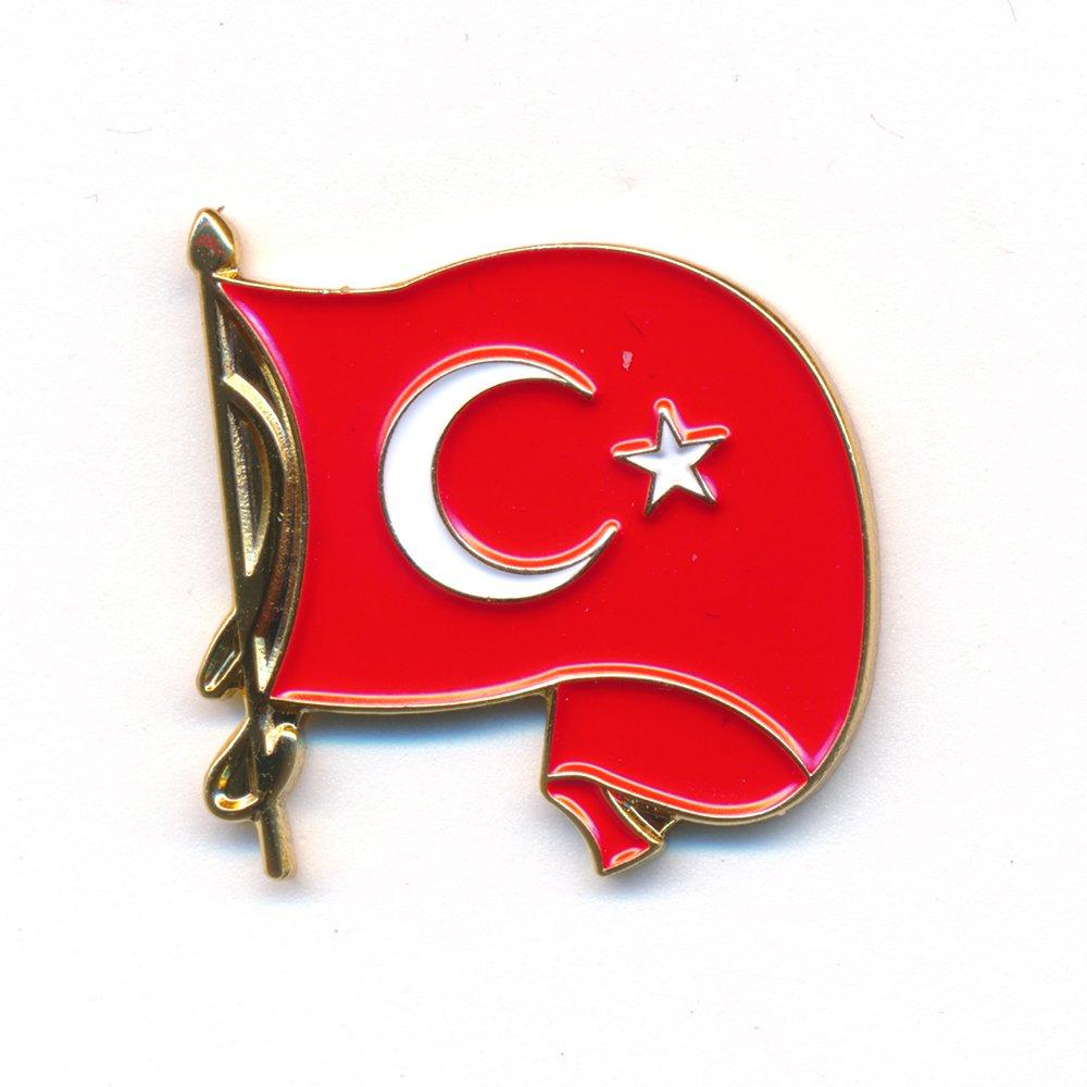Jolly Turquie drapeau/ /Waving T/ürkiye Flag Badge/ /inoxydable Pin Badge 0237