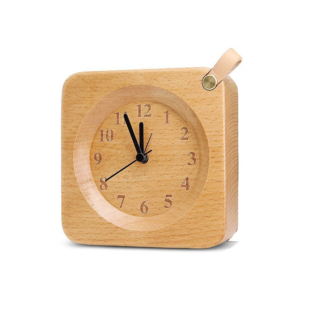 Alarm Clock, Attoe Wood Square Silent Desk Clock Battery Operated Portable Beech Clock for Bedroom Office Home Study Room Decor (Square Beech)