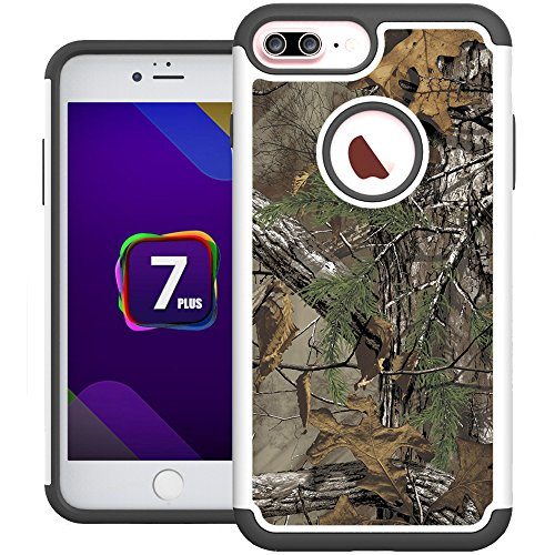 iPhone 7 Plus Case, iPhone 8 Plus Case, UrSpeedtekLive [Shock Absorption] Dual Layer Heavy Duty Protective Silicone Plastic Cover Case for Apple iPhone 7 Plus (2016)/iPhone 8 Plus (2017) -Camo Tree