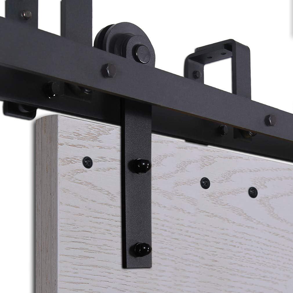CCJH 10FT-305cm Bypass Quincaillerie Kit de Rail Roulette pour Porte Coulissante Ensemble Industriel Hardware kit pour Deux Portes Suspendue en Bois