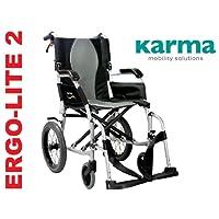 Karma Ergo Lite 2Ultra Lightweight Transit/Reise Rollstuhl–Jetzt hat Abnehmbare Fußstützen.