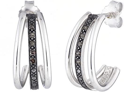 1//10 ct.t.w Diamond Hoop Earrings in Sterling Silver NEW