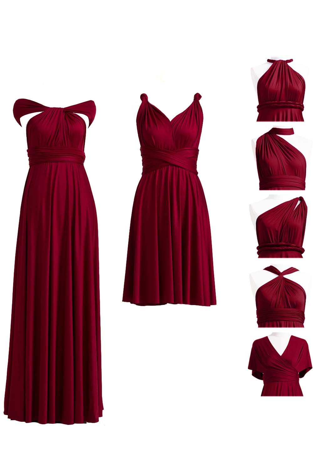 72STYLES Burgundy Infinity Dress with Bandeau, Convertible Dress,  Bridesmaid Dress, Long,Short, Plus Size, Multi-Way Dress, Twist Wrap Dress