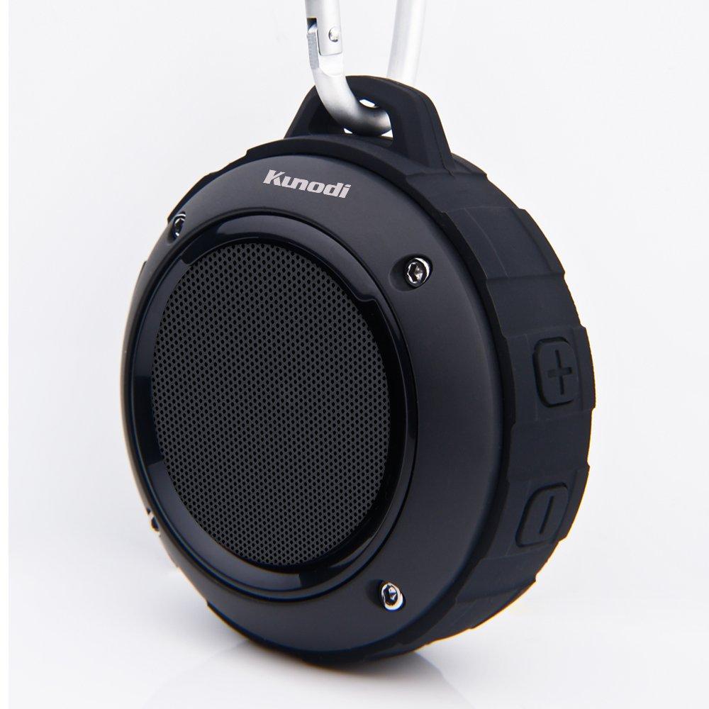 Outdoor Waterproof Bluetooth Speaker,Kunodi Wireless Portable Mini Shower Travel Speaker with Subwoofer, Enhanced Bass, Built in Mic for Sports, Pool, Beach, Hiking, Camping (Black) by Kunodi (Image #2)