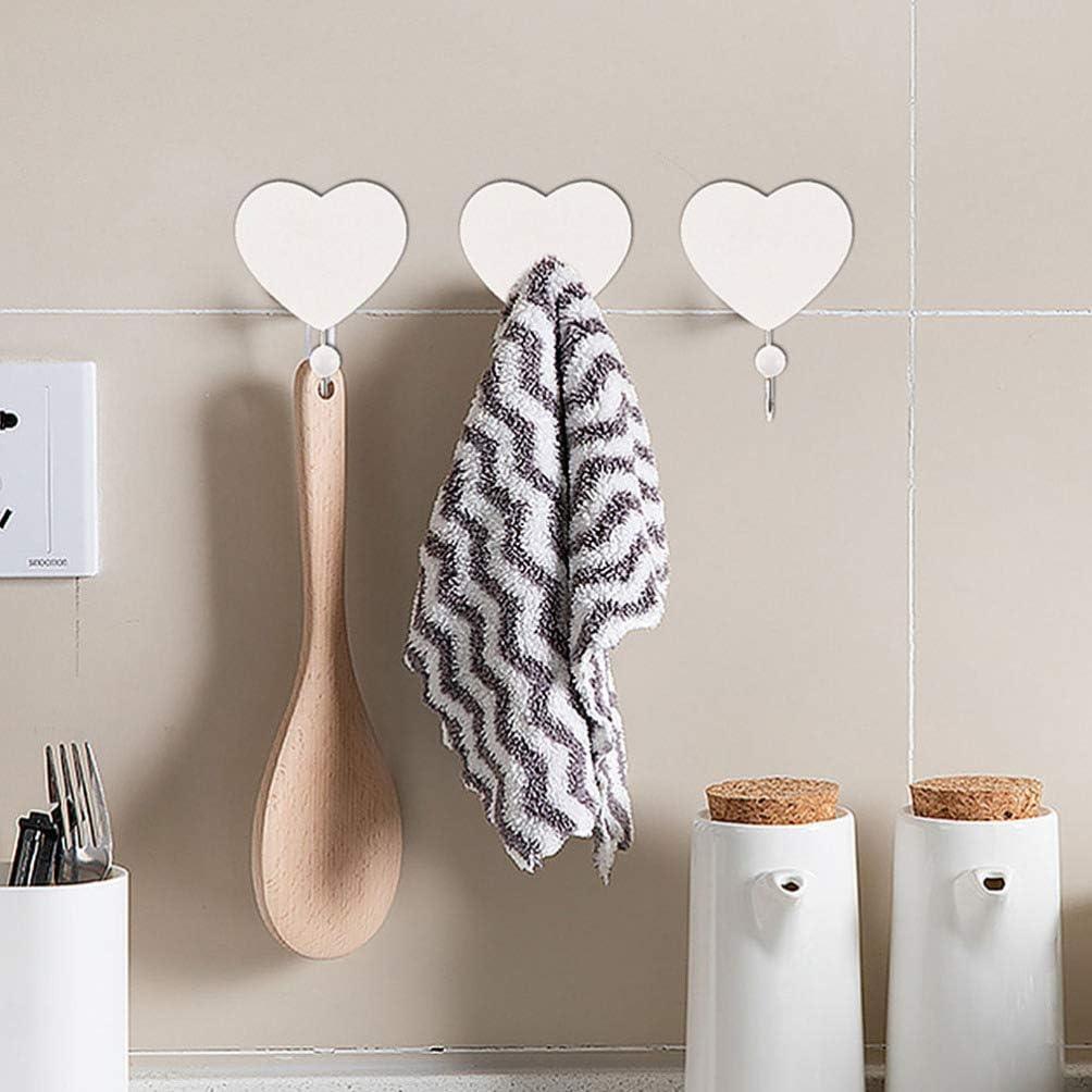 BESPORTBLE Wall Hooks Key Holder Wooden Heart Shaped Hooks Towel Hooks Rack Wall Mounted Decorative Hooks Bathroom Hook Houseware Organizer for Kitchen Bathroom Glass Door 6Pcs
