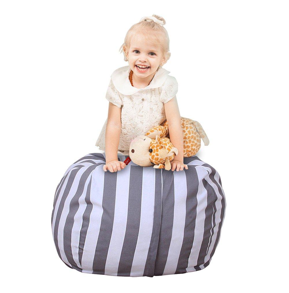 Uozzi Bedding Stuffed Animal & Toys Storage Bean Bag Pouf - Perfect Organization for Extra Toys, Blanket, Towels, clothes, Pillows - Premium Quality Cotton Canvas(Blue, 26