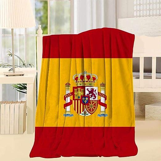 ifufuhech - Manta con diseño de la Bandera de España, Blanco, Throw 50x60inch: Amazon.es: Hogar