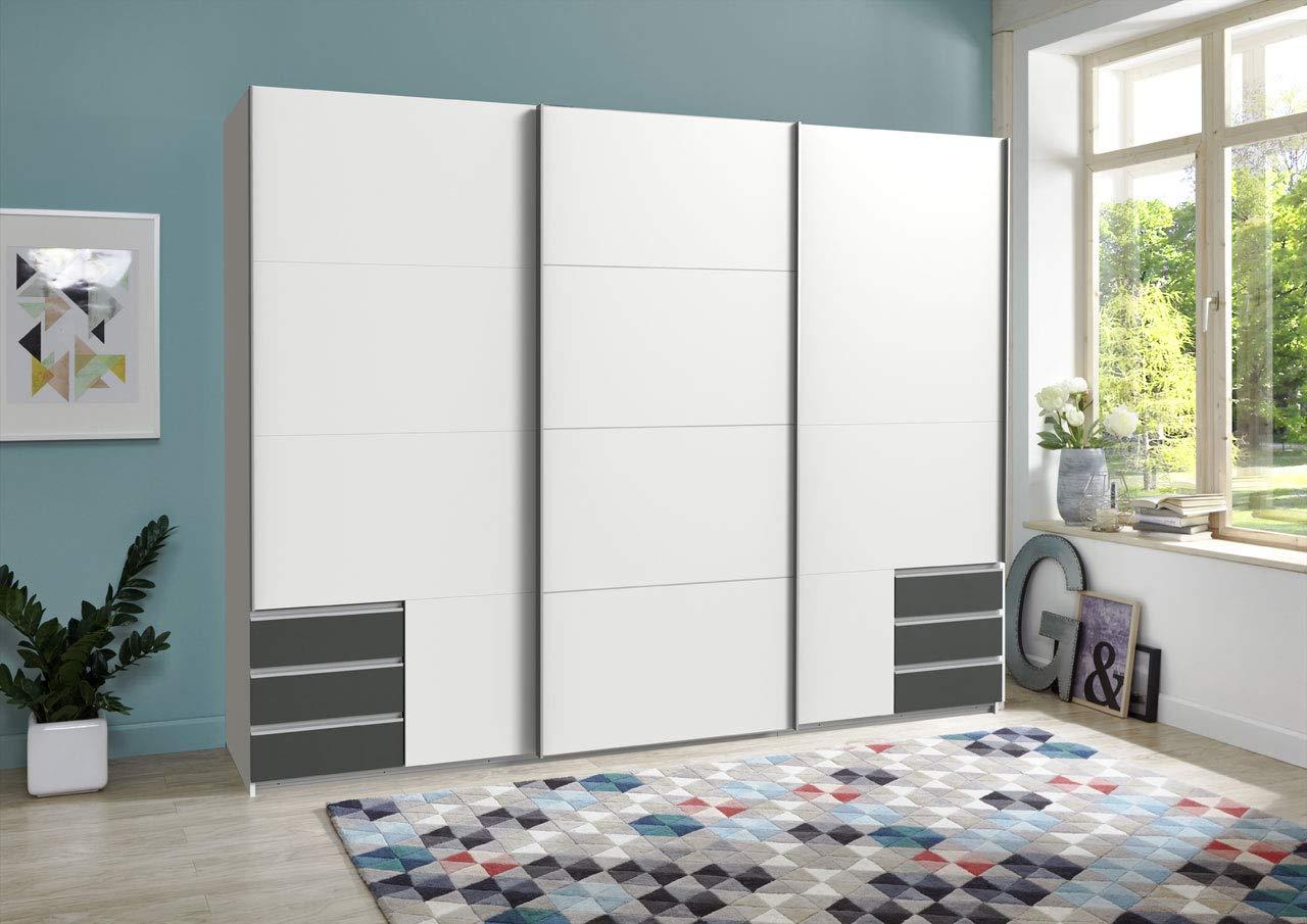 lifestyle4living Kleiderschrank 3-türig in weiß und grau | Schwebetürenschrank mit Schubladen und viel Stauraum, ca. 270 cm breit