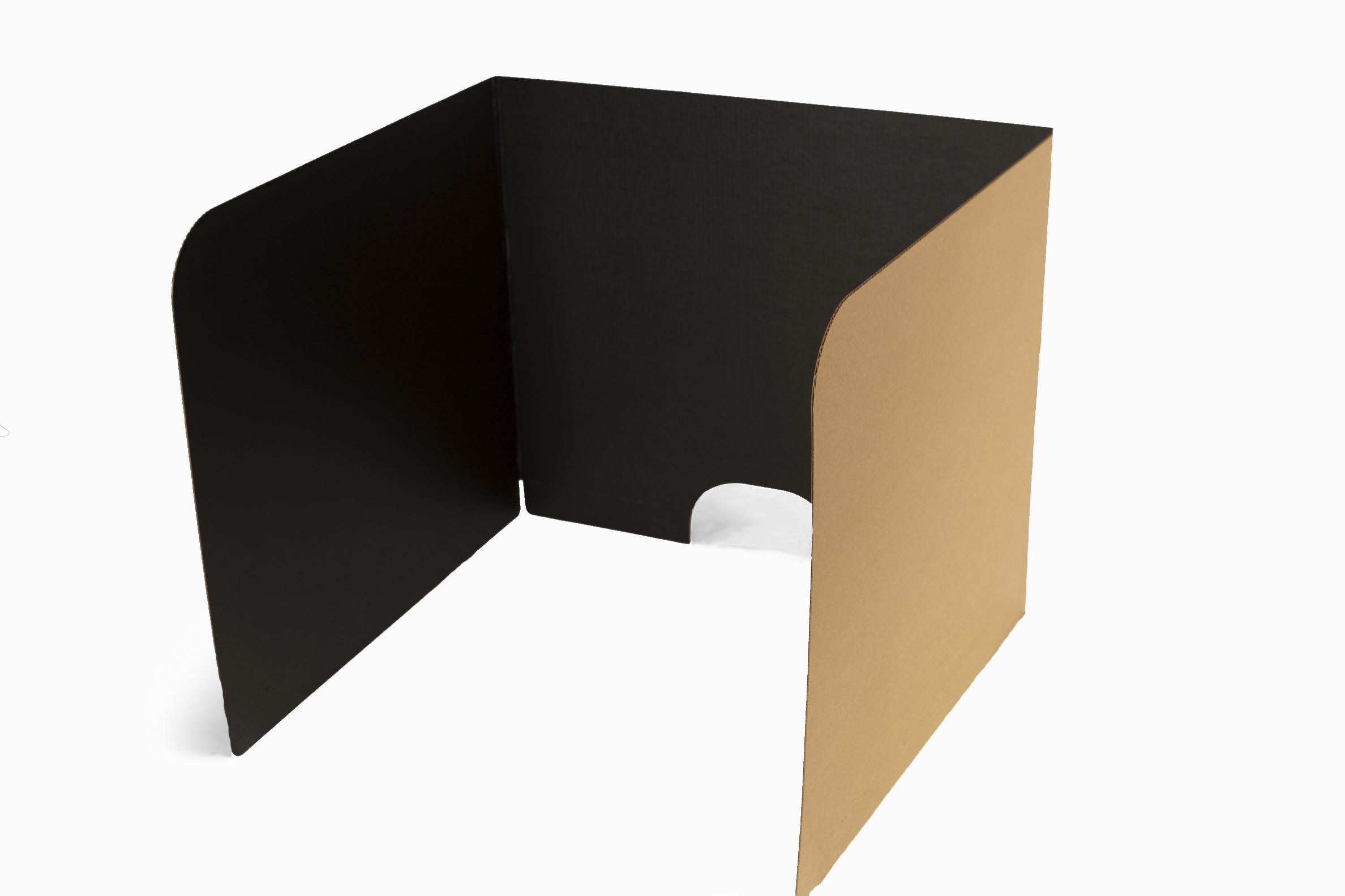 Classroom Products Voting Booth 24 Inch Tall Corrugated Cardboard Portable - Black - (Pack of 10)