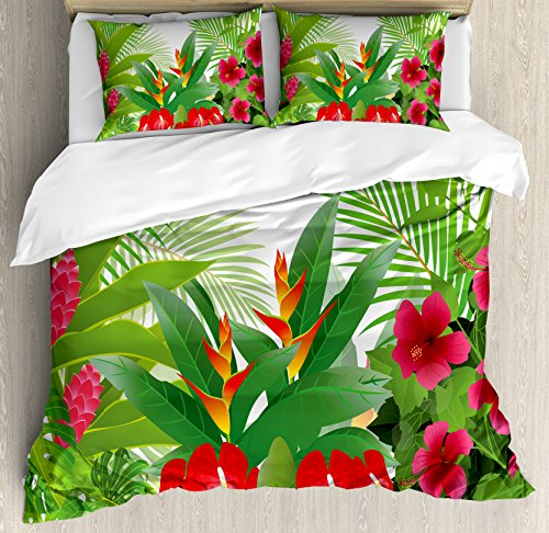 Leaf Queen Size Duvet Cover Set by Ambesonne, Tropical Exotic Forest Hibiscus Red Ginger and Anthurium Flowers, Decorative 3 Piece Bedding Set with 2 Pillow Shams, White Dark Green and ()