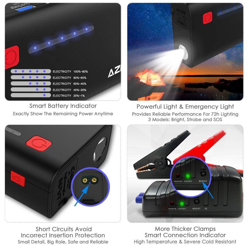 Azdome Booster Batterie Voiture 18000mAh 800A Demarreur de Voiture jusqu/à 6.5L de Gaz et 5.5L de Moteur Diesel Booster Batterie Portable Chargeur Batterie Urgence avec LED Flashlight