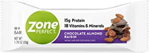Zone Perfect Protein Bars, Chocolate Almond Raisin, 12g of Protein, Nutrition Bars with Vitamins & Minerals, Great Taste Guaranteed, 20 Bars