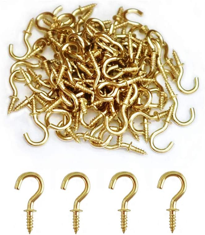 20 Pcs Metal Screw-In Ceiling Hooks Heavy Duty Copper Plated Cup Hanger Supplies