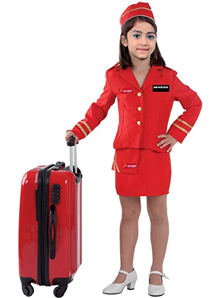 5527648ed4c Fancy Steps Air Hostess Dress Costumes (Red, 2 to 4 Years)