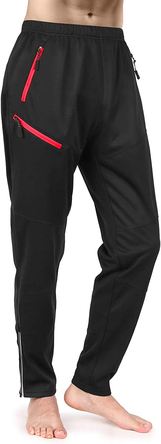 TOMSHOO Mens Windproof Cycling Pants Thermal Polar Fleece Athletic Pants for Biking Running Hiking Outdoor Activities